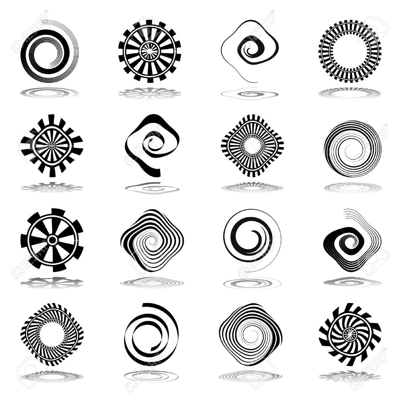 Design elements set. Spiral and rotation abstract icons. Vector art. - 39205653