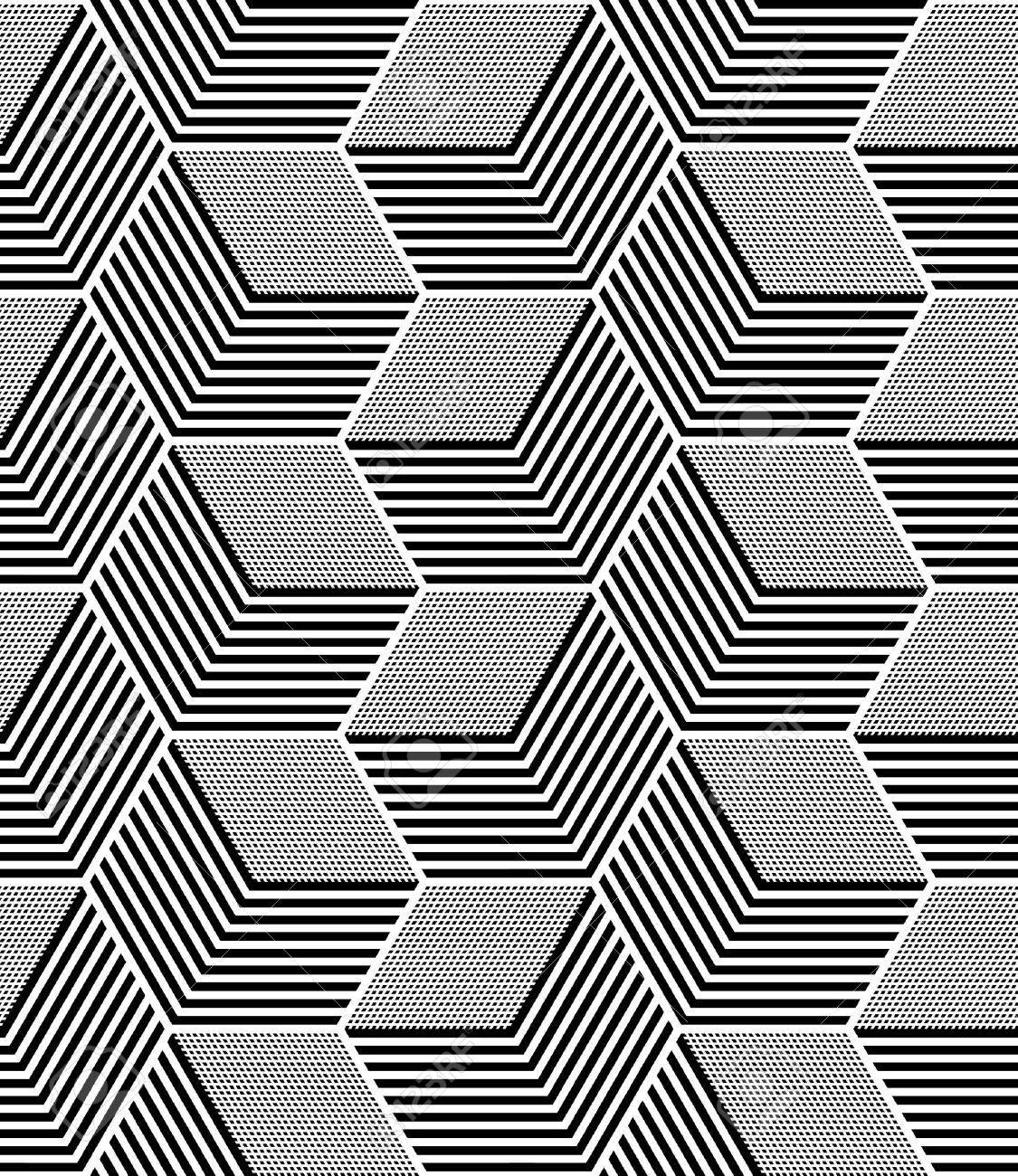 Seamless op art pattern. Geometric hexagons and diamonds texture. - 54565514