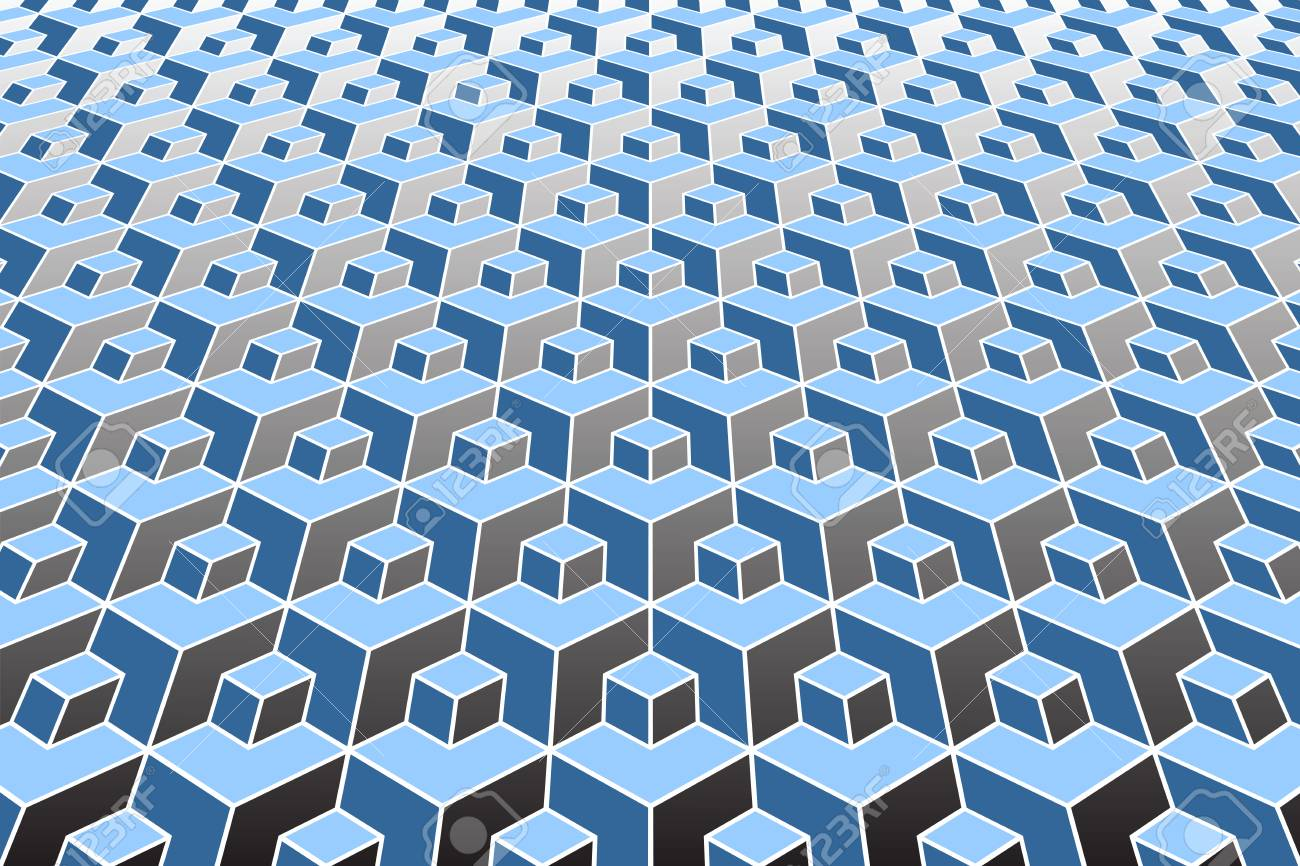 Abstract geometric pattern  3D optical illusion  Vector art