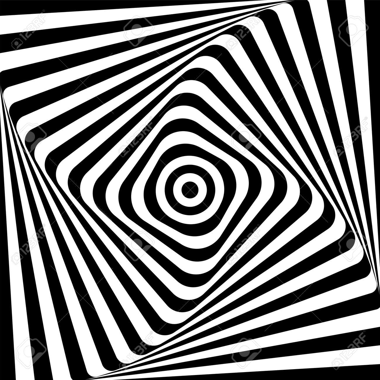 Abstract illusion of 3D whirl movement. Op art vector design. - 159354029