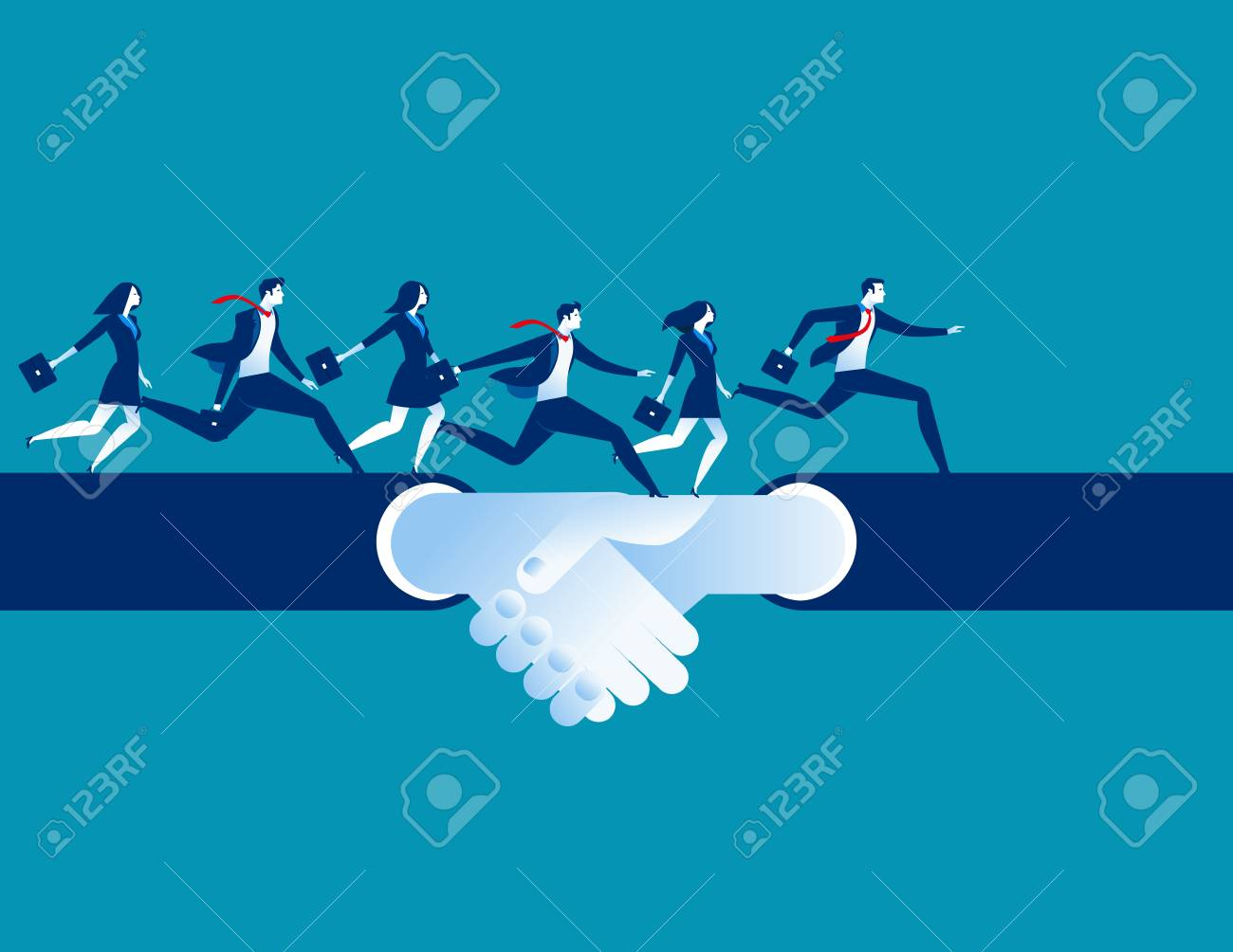 Agreement and hand shake. Business people running on a hand shake. Concept business success illustration. Vector cartoon character. - 84889496