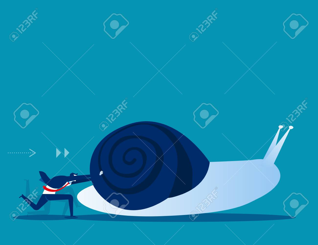 Businessman pushing snail. Concept business vector illustration. - 102826906