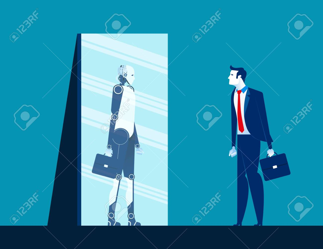 Businessman standing and looking body in mirror of robot reflection. Concept business vector illustration. Flat design style - 124396296