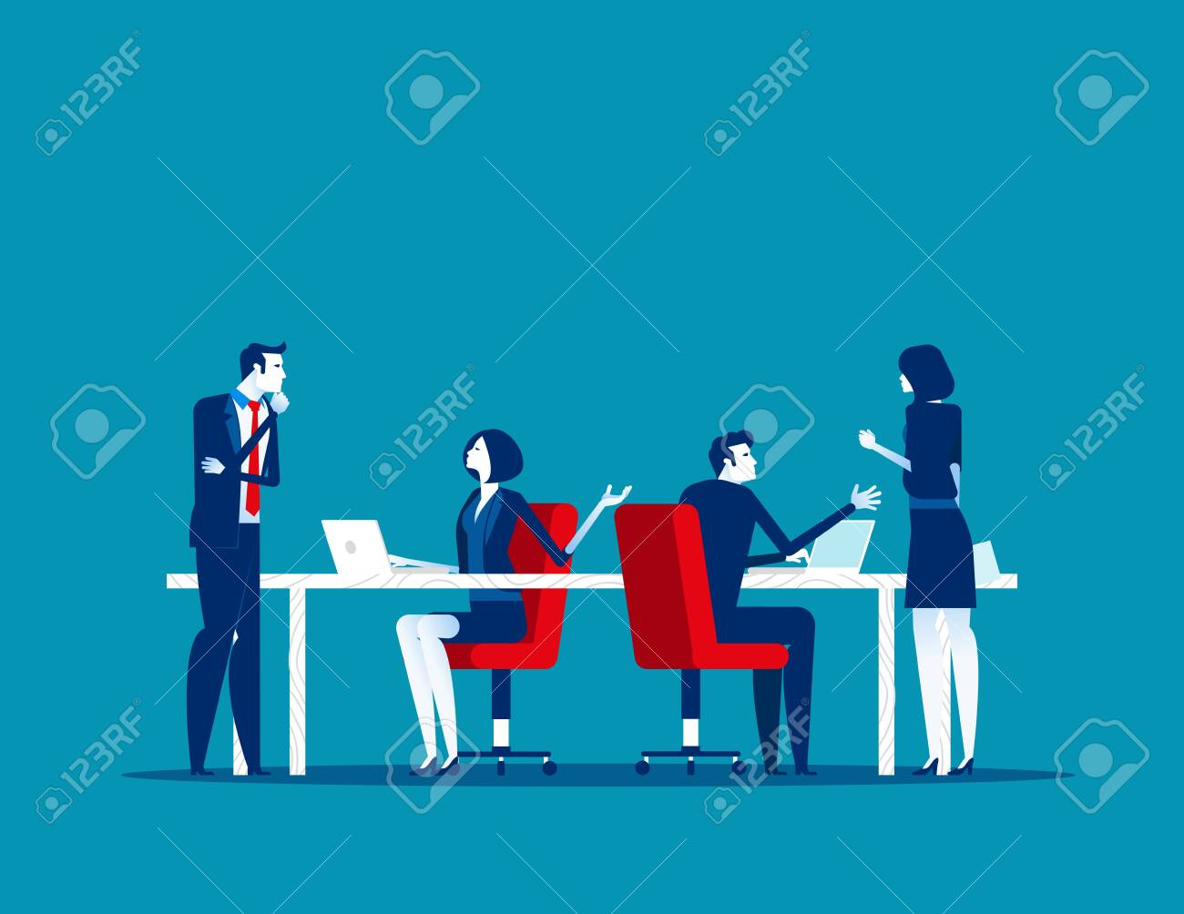 Business people working in modern office, work and talking with colleagues. Concept business vector, Meeting, Communication. - 133235198