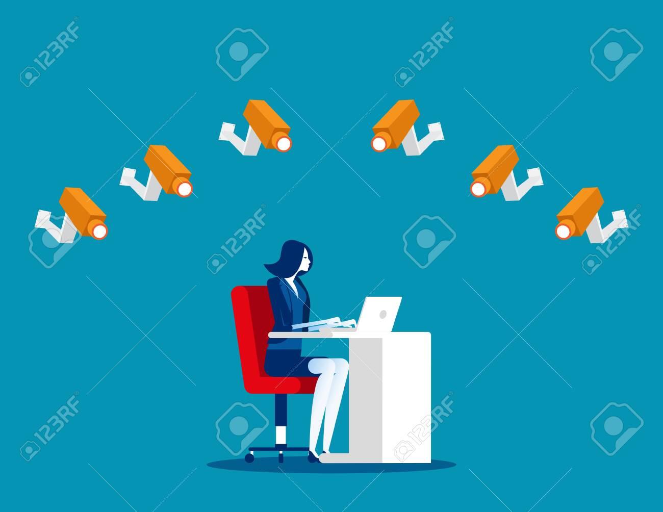 Group of cameras following a employee. Concept business vector, Spy camera, Surveillance. - 133930508