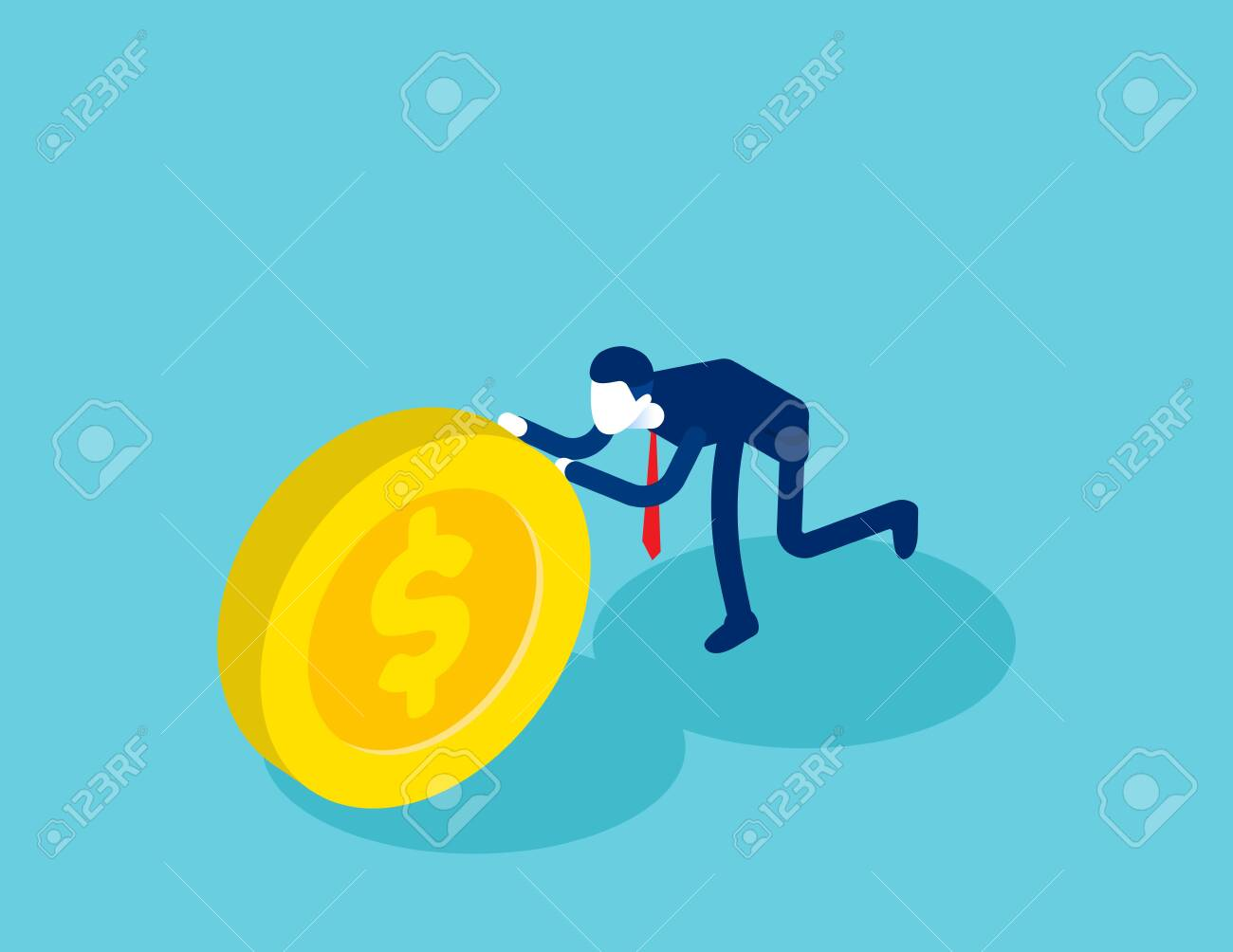 Isometric businessman push coin. Concept business financial isometric vector illustration, Shove, Isometric flat cartoon, character style design - 136953567
