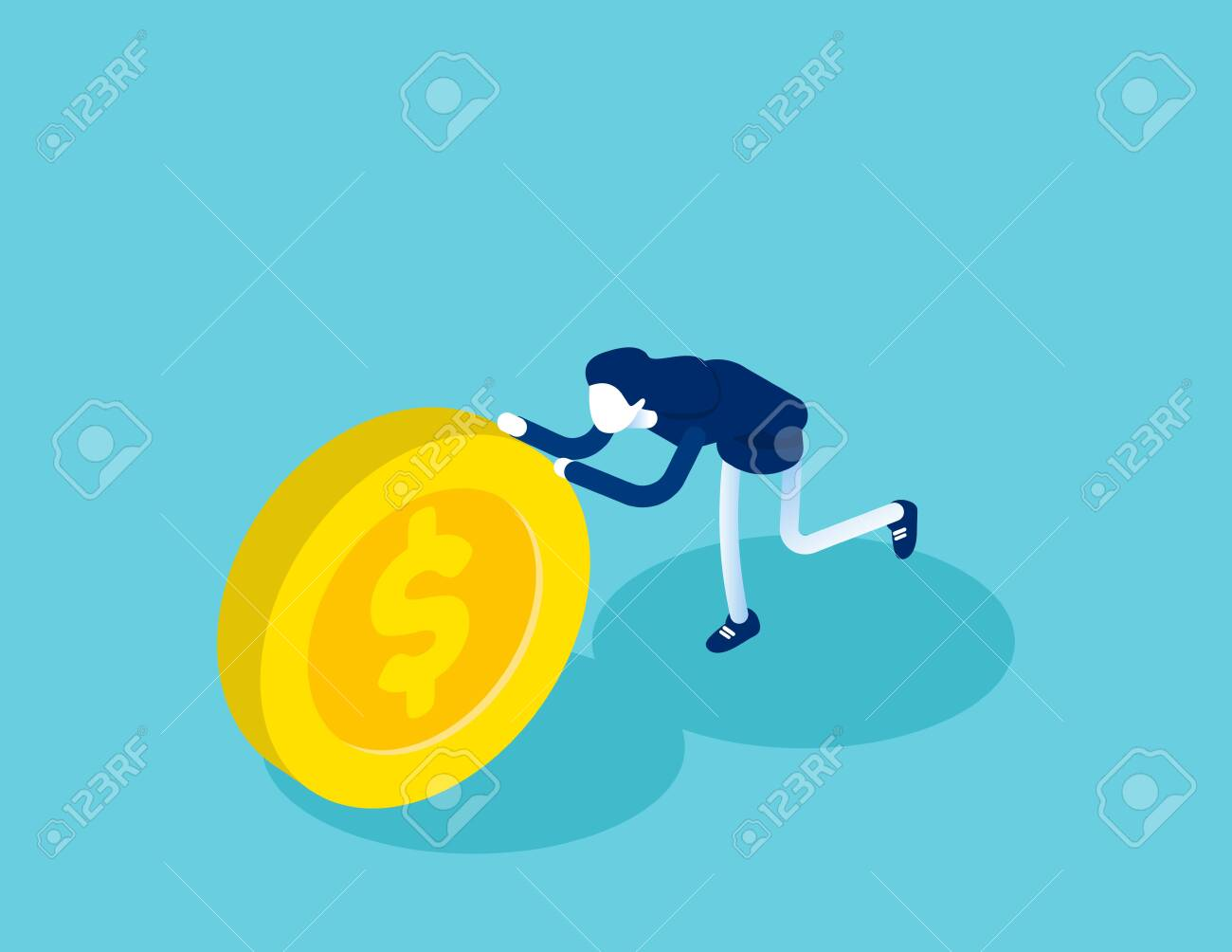 Isometric businesswoman push coin. Concept business financial isometric vector illustration, Shove, Isometric flat cartoon, character style design - 136953565