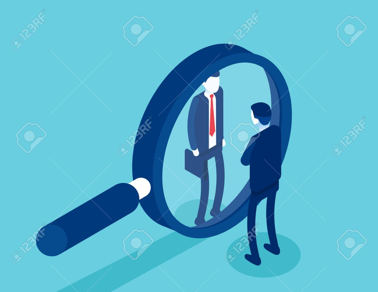 Search for qualified personnel. Selects business candidates for work. Isometric vector cartoon style - 142461058