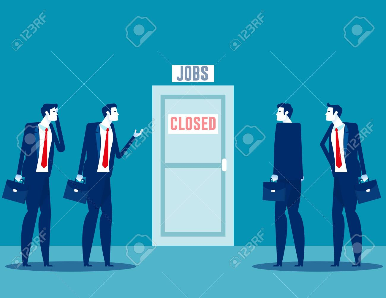 People talking about business closure. Team fired from job due economy crisis - 149478167
