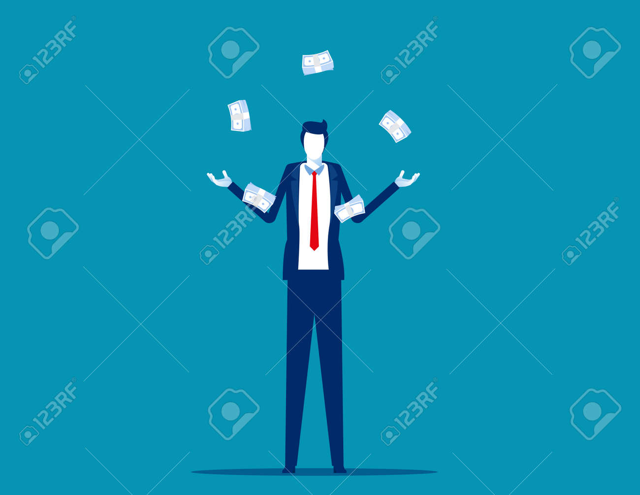 Skilled business person standing juggling money cash - 173345503