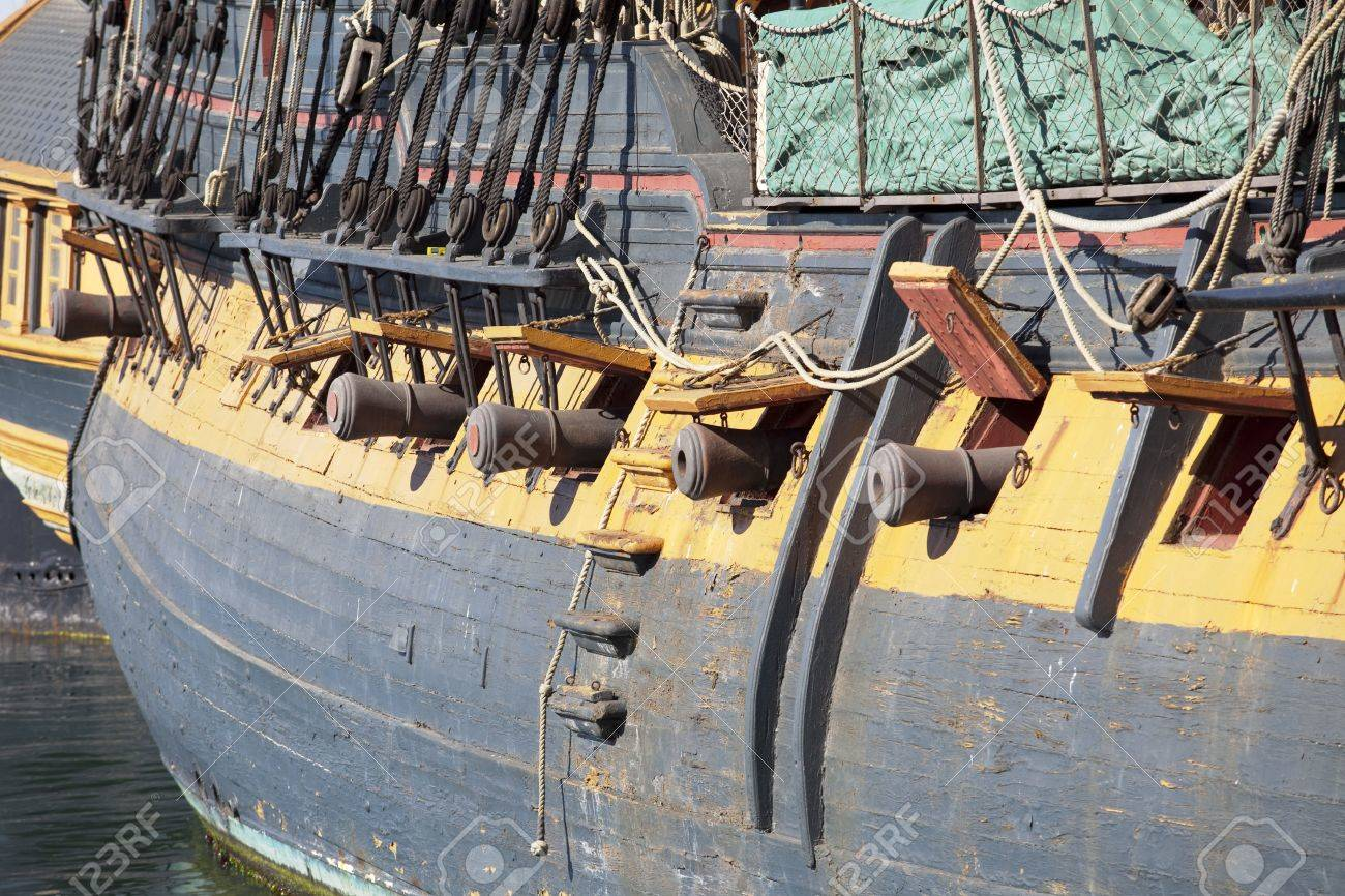 closeup front view of left side of star of india old ship in