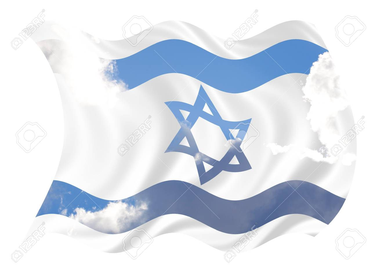 Illustration of Israel flag waving in the wind over cloudy sky Stock Illustration - 6688783