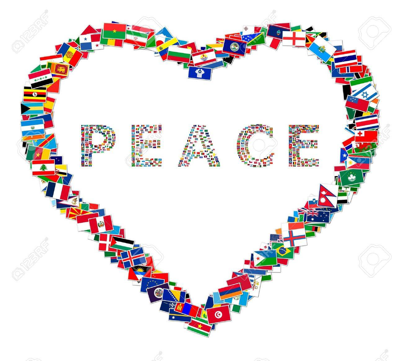 Illustration of heart with word PEACE inside, made from world flags, illustration Stock Illustration - 6764024