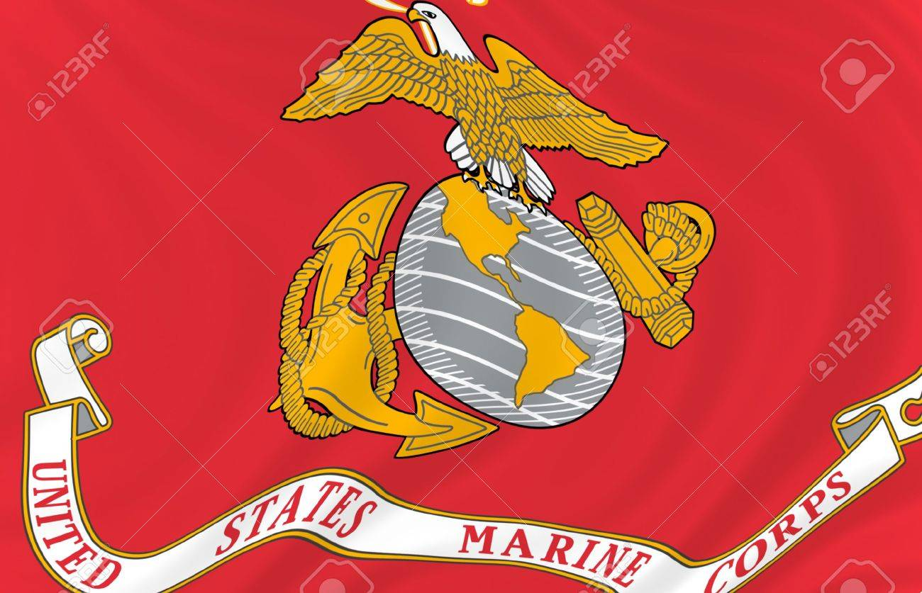 Illustration Of United States Marine Corps Flag Waving In The