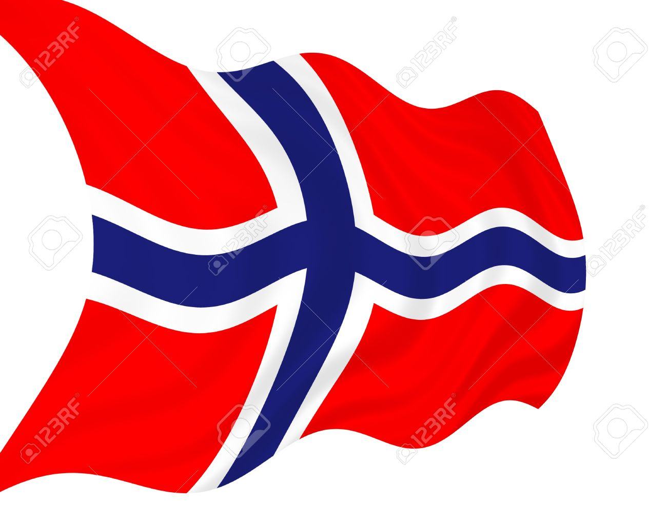 illustration of norway flag waving in the wind stock photo