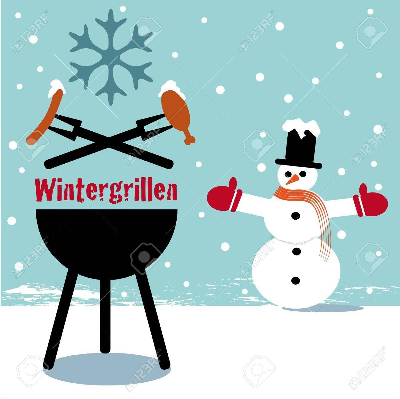 Winter barbecue blue Stock Vector - 16624749