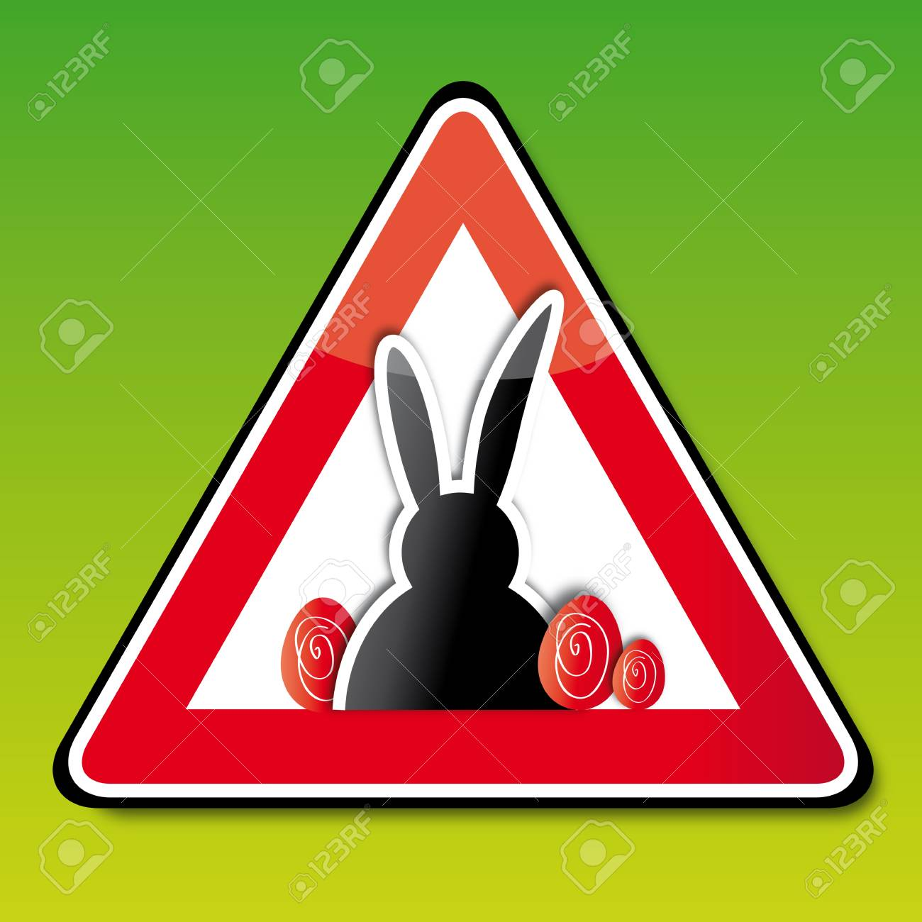 Achtung Ostern Attention Easter Sign Button