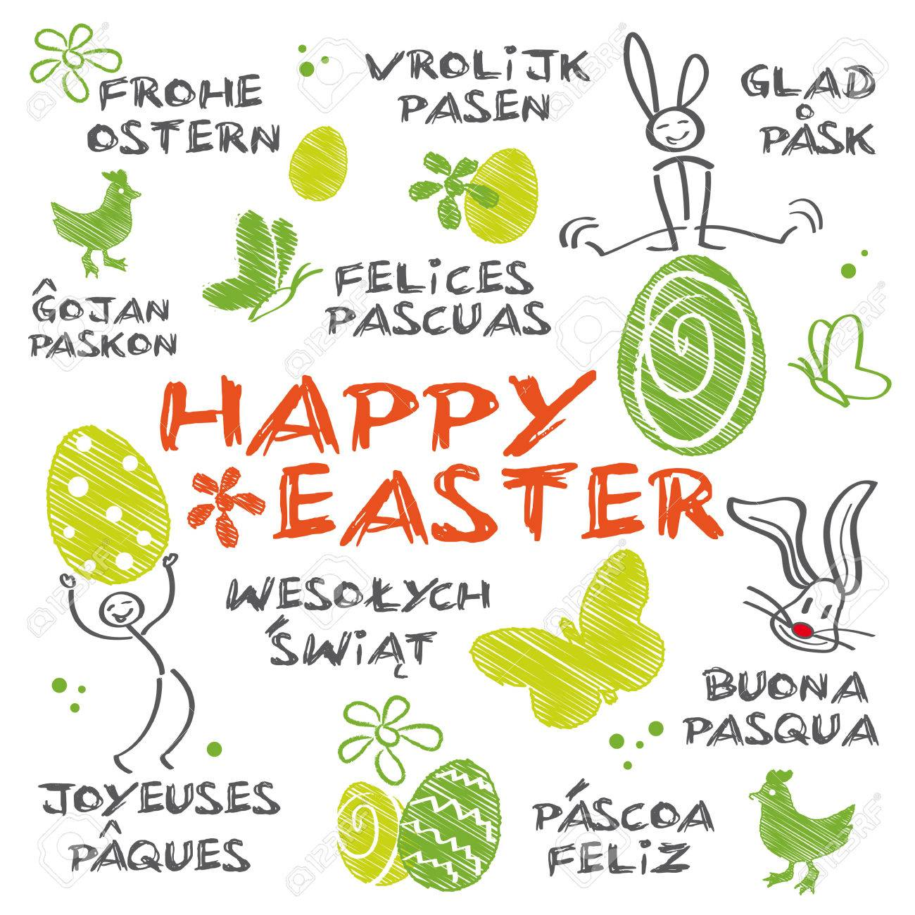 Illustrated Easter Greetings In Different Languages Royalty Free