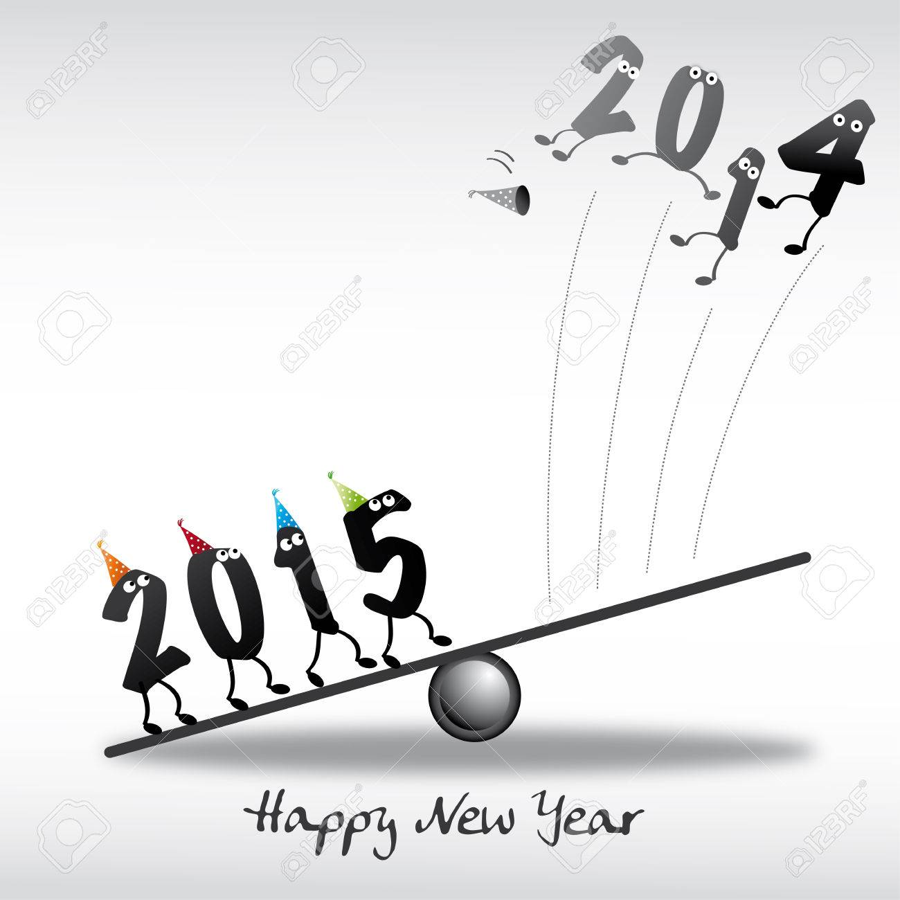 2015 Happy New Year Greeting Card Royalty Free Cliparts Vectors