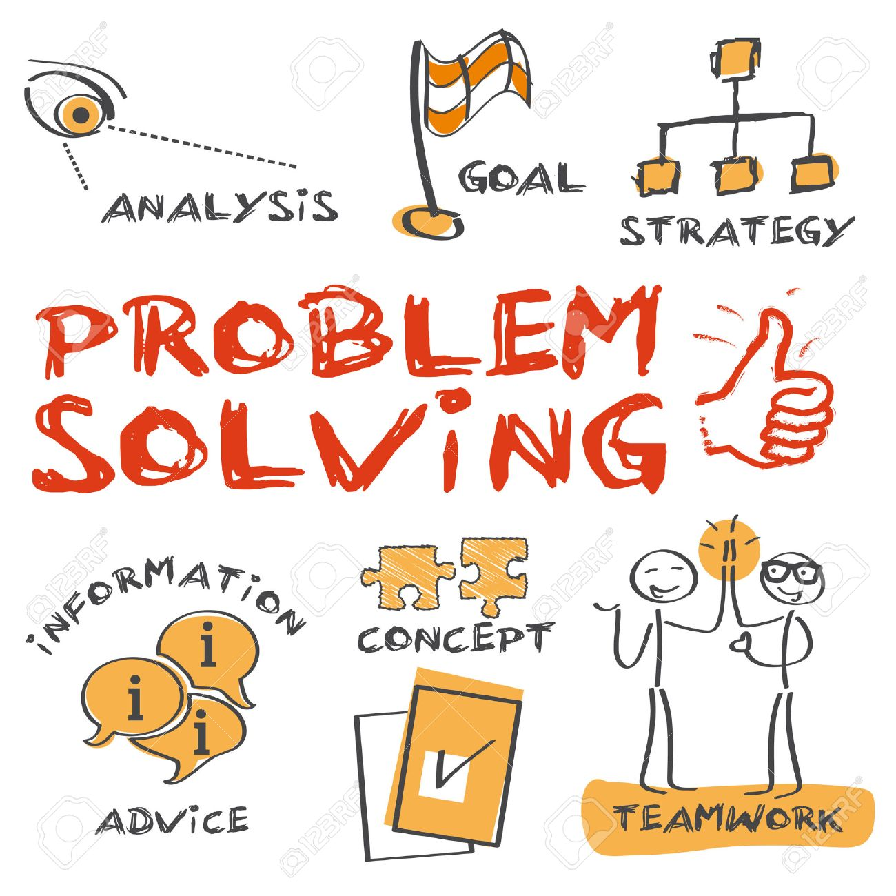 problem solving concept sketch with keywords and icons royalty free