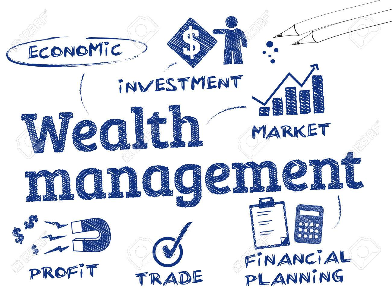 vector wealth management Wealth Management. Chart With Keywords And Icons Royalty Free ...