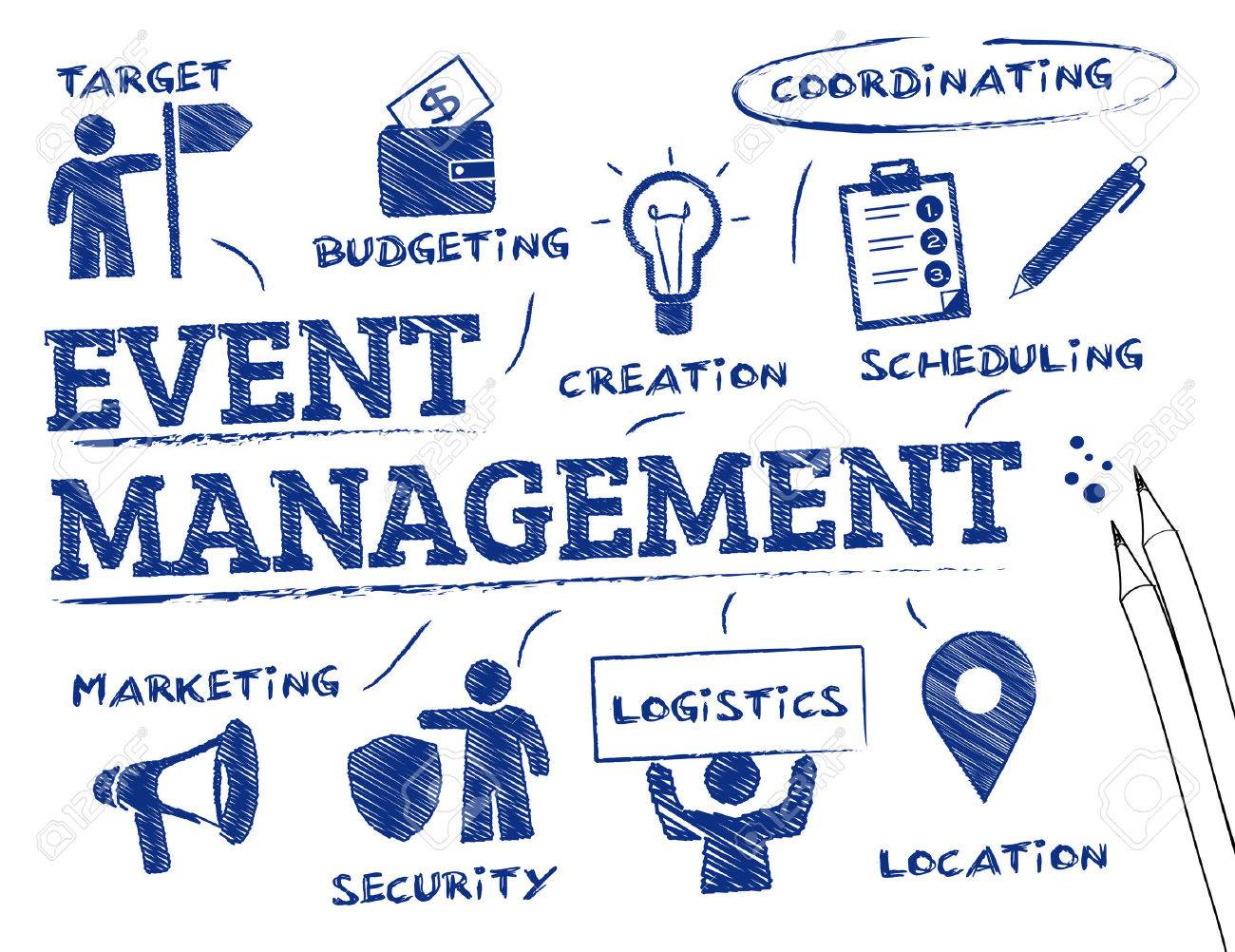 Event management. Chart with keywords and icons - 52842952