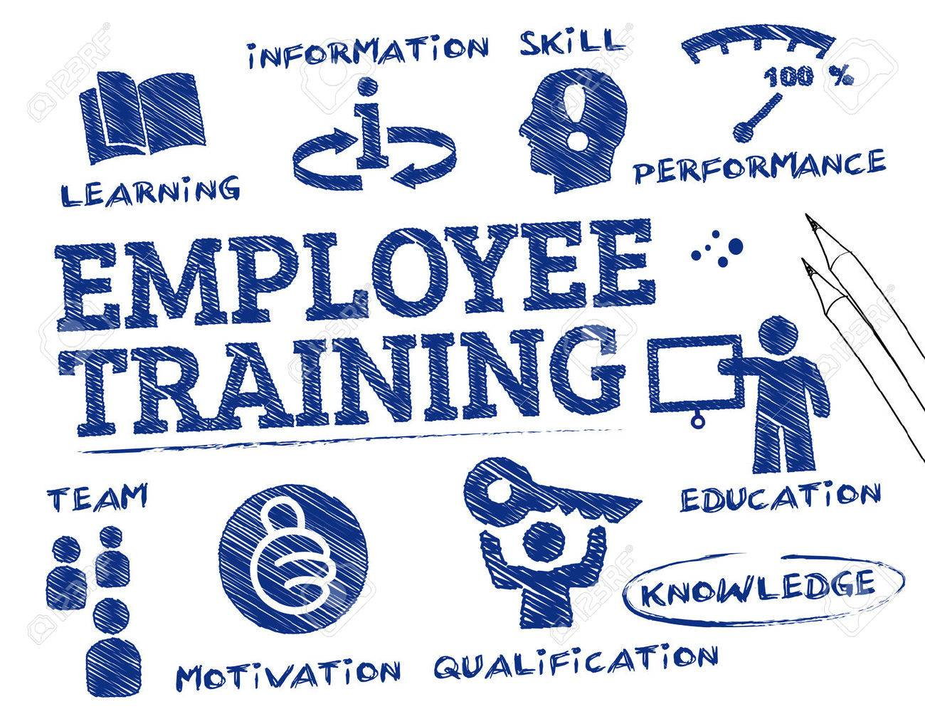 employee training. Chart with keywords and icons - 54182151