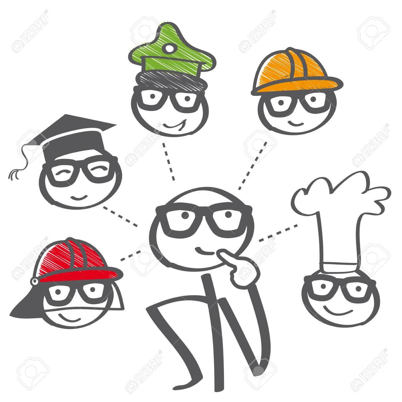 Career choice options – stick figure thinking of future education - 58037139