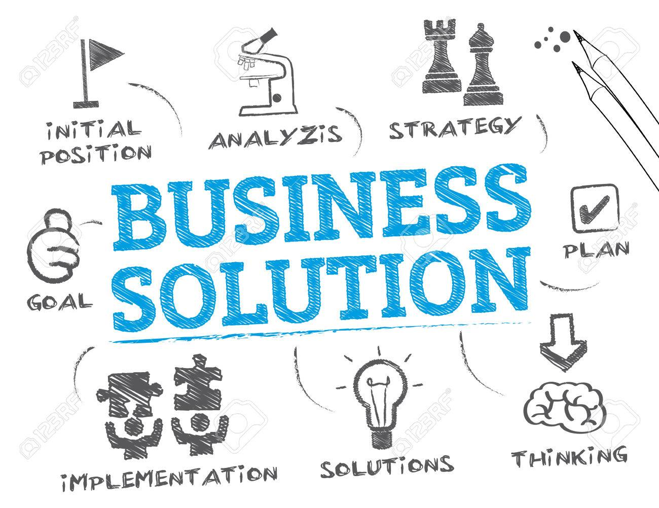 Business Solution. Chart with keywords and icons - 58037142