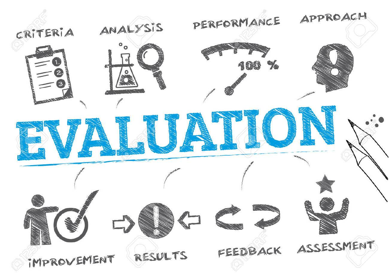 evaluation. Chart with keywords and icons - 58943637