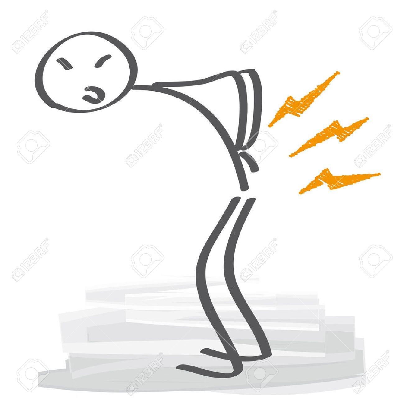 Low back pain - Stick figure has backache - 58943642