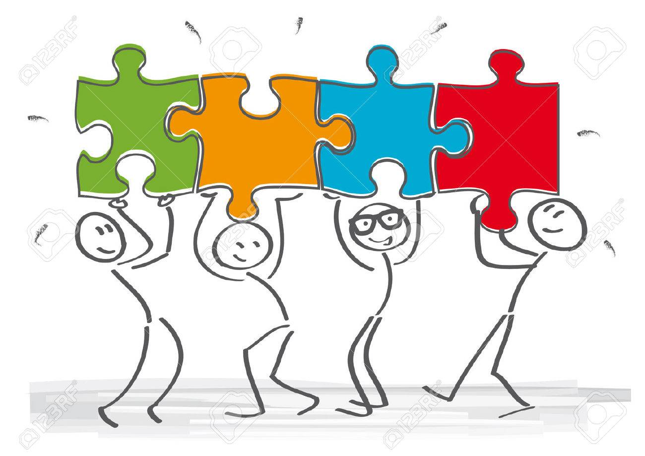 work together stick figures with puzzle pieces royalty free