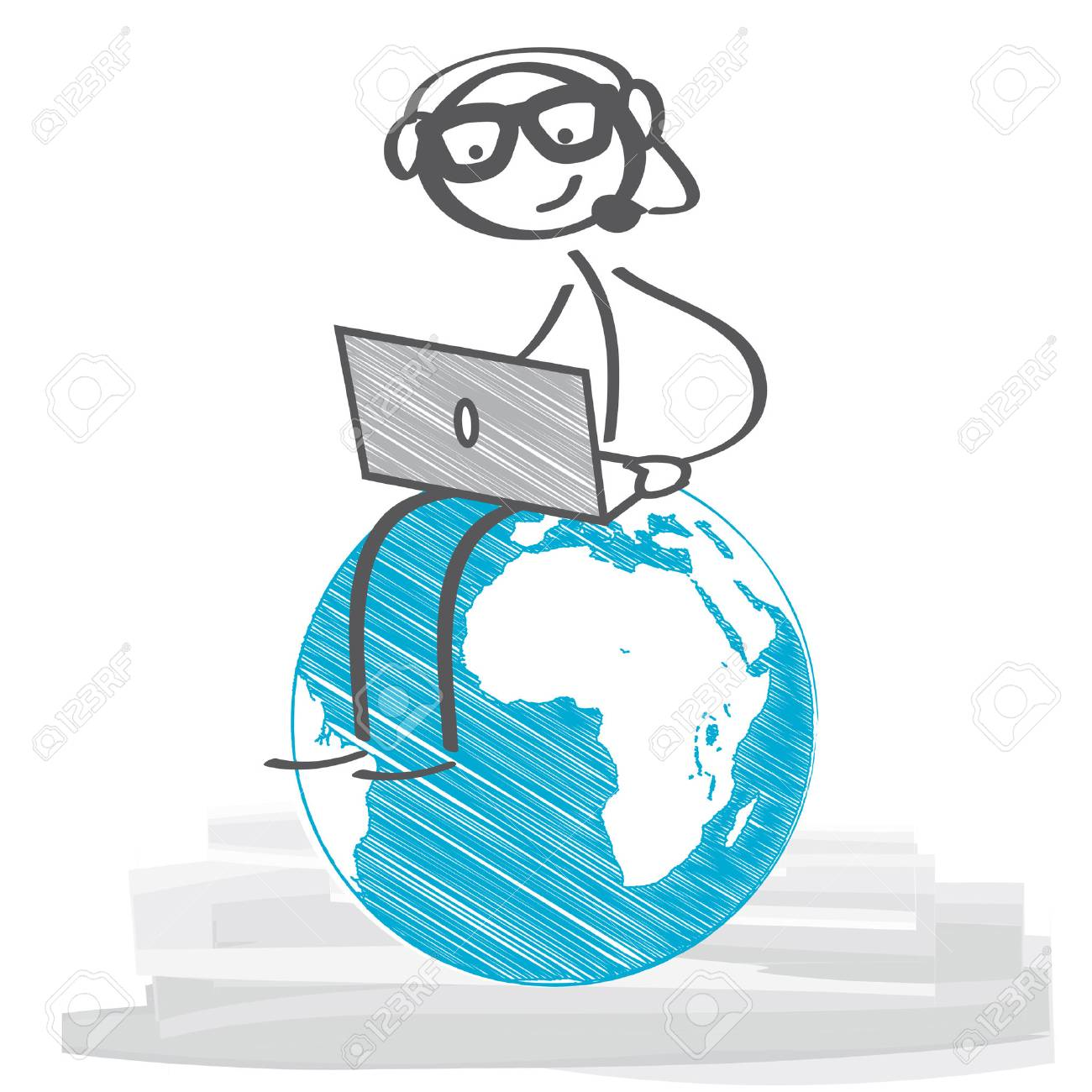 Stick figure with headset an laptop - 63947679