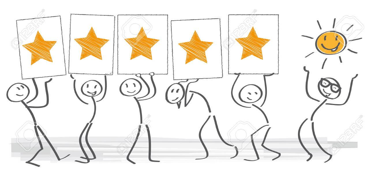 customer satisfaction - vector illustration with stick figures - 63947687