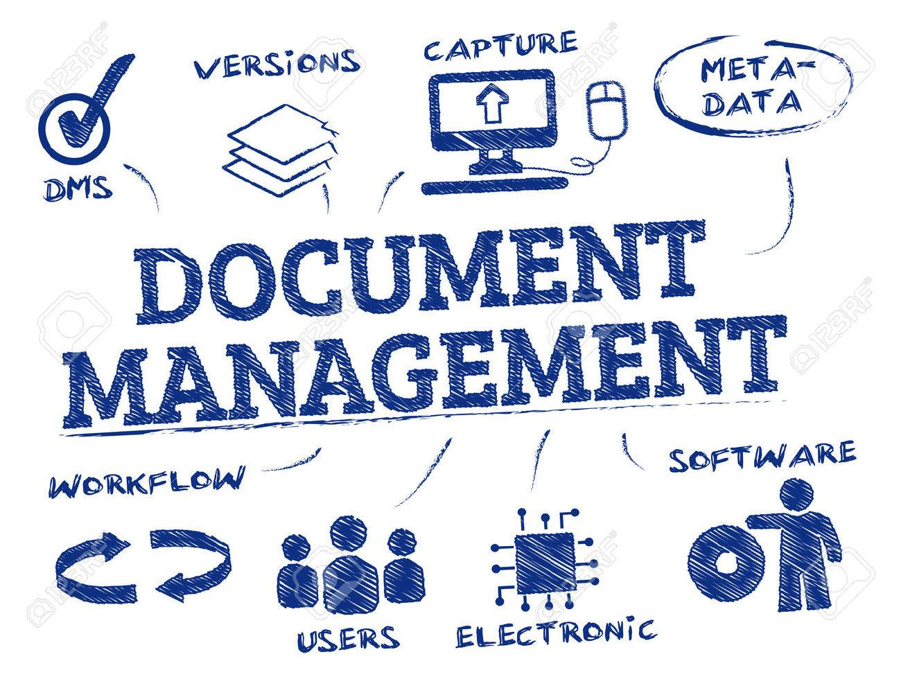 Document management. Chart with keywords and icons - 63947710