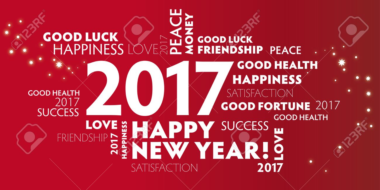 New Year's Eve - red postcard happy new year 2017 - 63523353