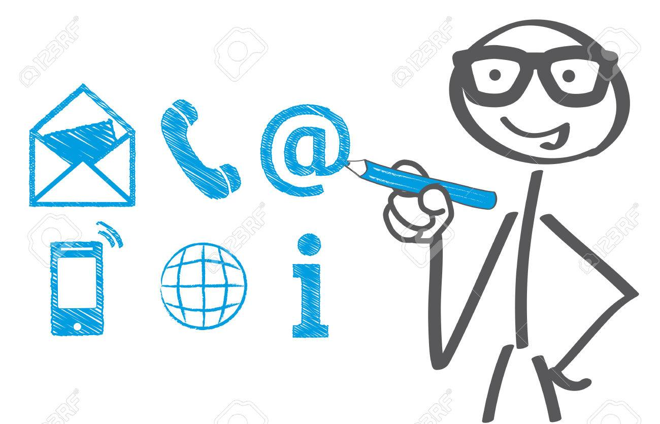 Businessman drawing contact icons - 67826873