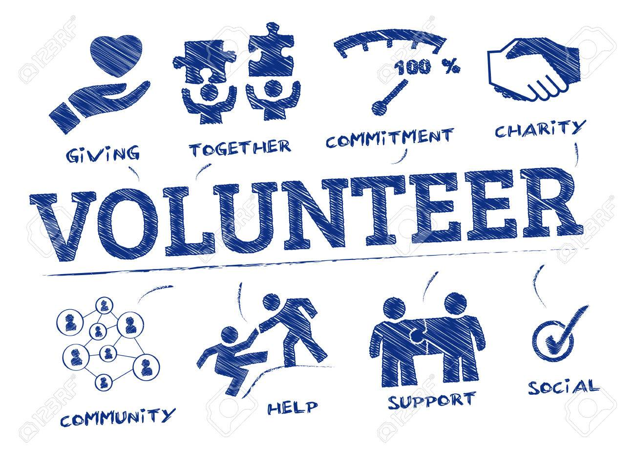 volunteer. Chart with keywords and icons - 68408295