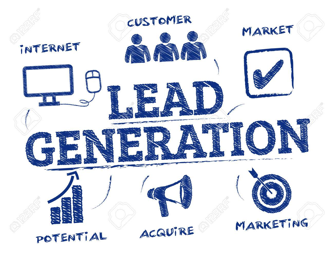 Lead generation. Chart with keywords and icons - 68948134