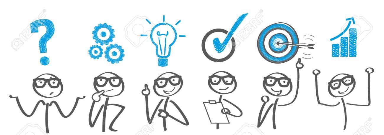 Brainstorming. Businessman solving a problem - 69589719