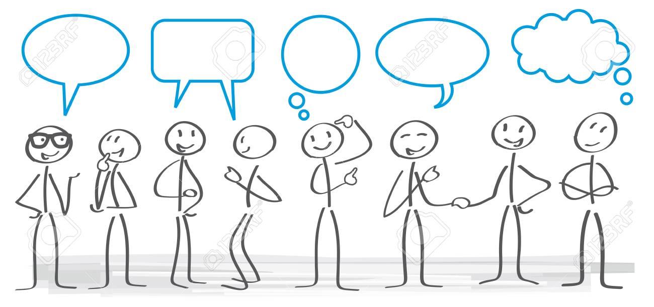 stick figures with dialog speech bubbles - 71454958