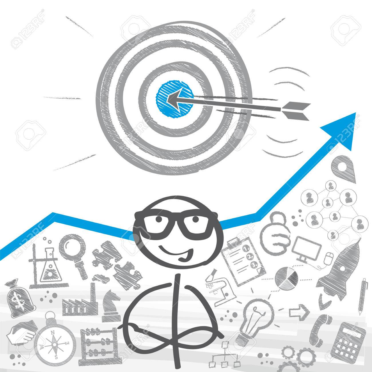 Stick figure standing in front of a setting goals concept - 71970123