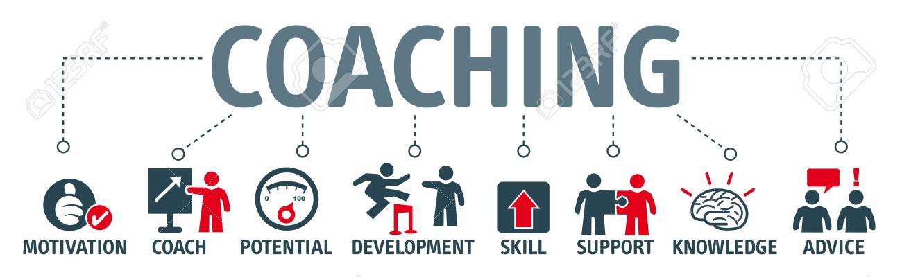 Banner coaching concept. Keywords and pictogram - 72857736