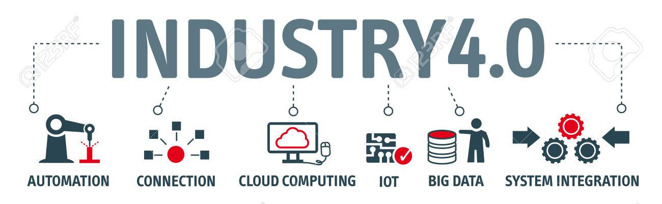 Industry 4.0. Banner with keywords and icons - 74420055