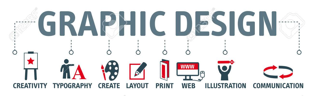 Graphic design. Banner with keyword and icons - 77831018