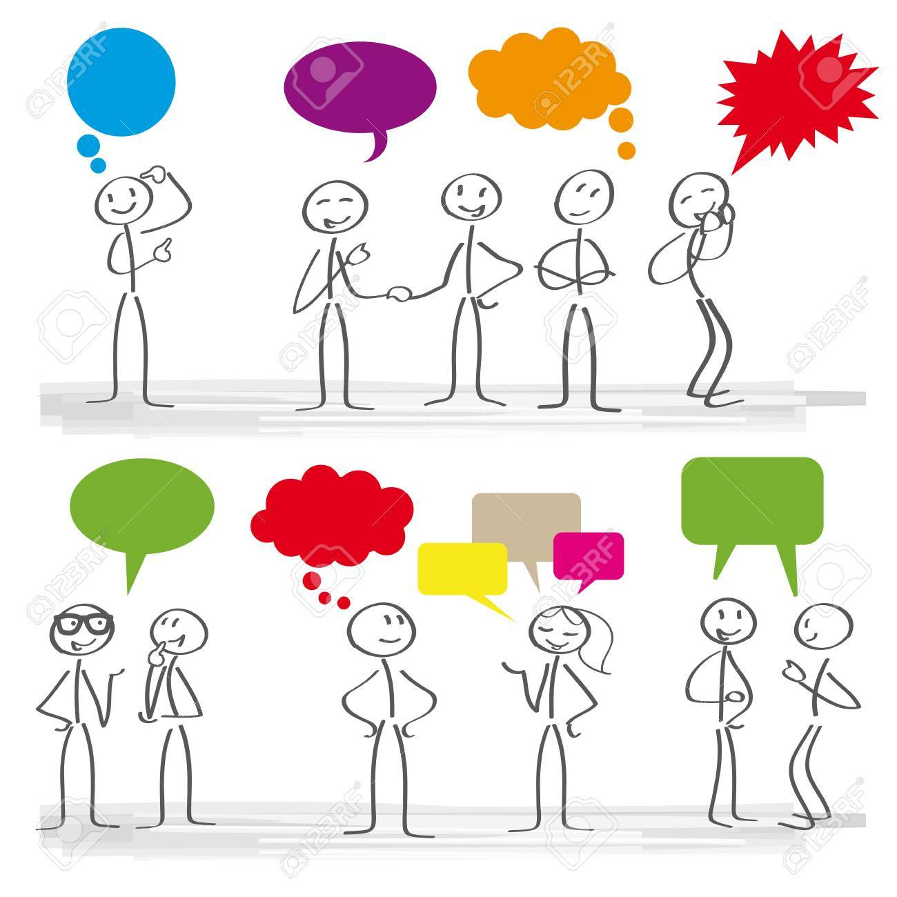 Stick figures with colorful dialog speech bubbles - 84645565