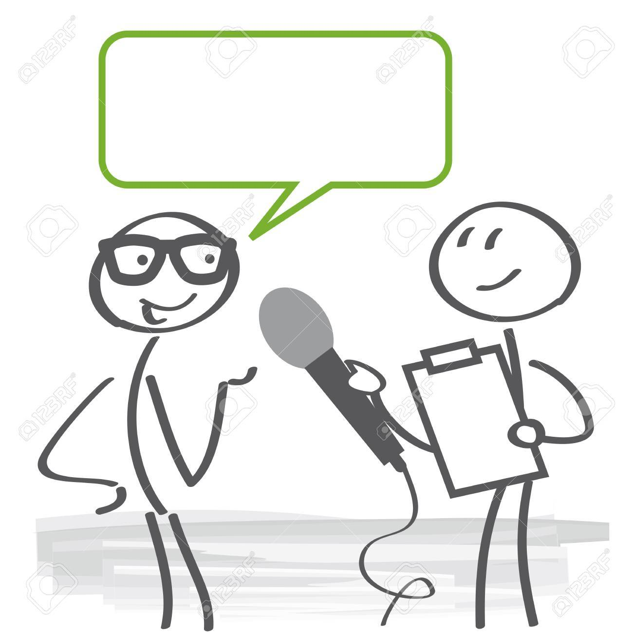 Reporter doing a survey with microphone and clipboard illustration. - 85022576
