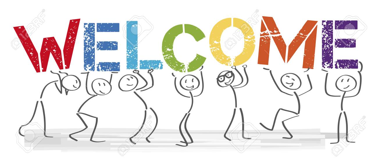 Stick figures holding the word Welcome. Vector banner with the text welcome - 99833494