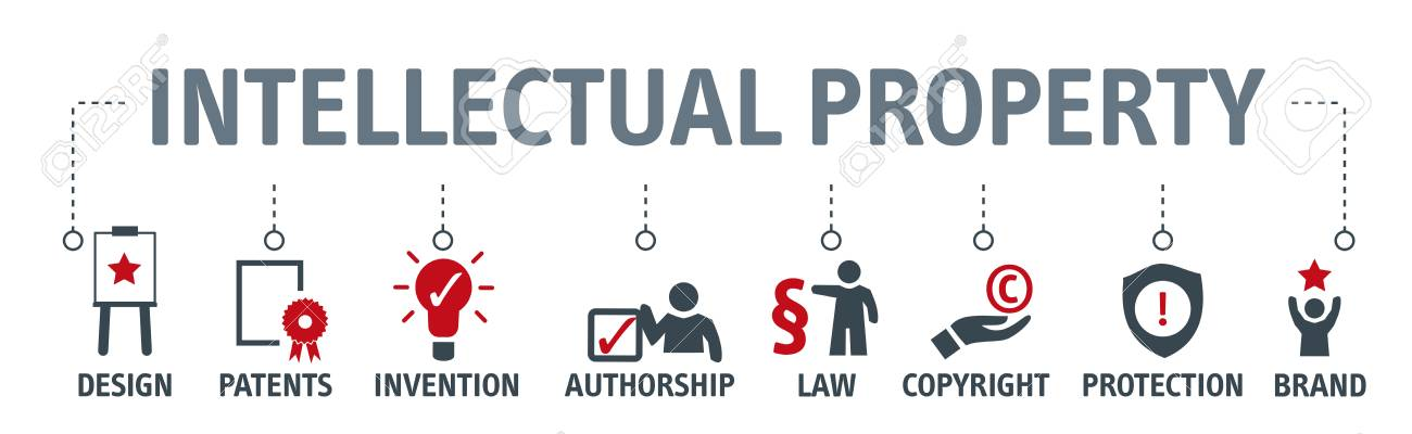Banner Intellectual Property vector illustration concept with keywords and icons - 109909507
