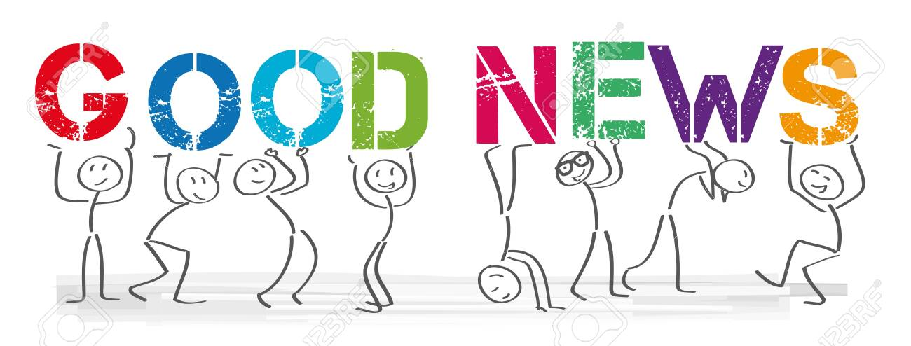 "Stick Figures Holding The Word ""Good News"". Vector Banner With ..."
